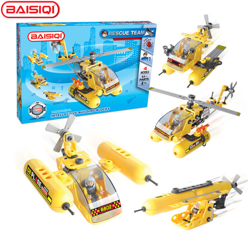 BAISIQI Kids Rescue Team Air fighter with figure sticker 3D DIY STEM 4-in-1 Assembly Disassembly Model Building Kit Educational