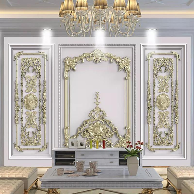 Custom Wallpaper 3D Stereo Golden Flowers Murals Living Room TV Sofa Background Wall Painting Luxury Decor Papel De Parede Mural