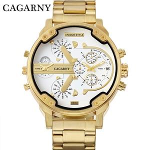 Image 3 - Relogio Masculino Cagarny Brand Analog Military Wristwatch Auto Date Mens Quartz Watch Golden Band Casaul Watch Men Clock D6280Z