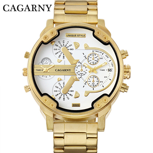 Image 3 - Relogio Masculino Cagarny תאריך אוטומטי שעון יד צבאי אנלוגי מותג Casaul Mens קוורץ שעונים להקת זהב שעונים גברים שעון D6280Z