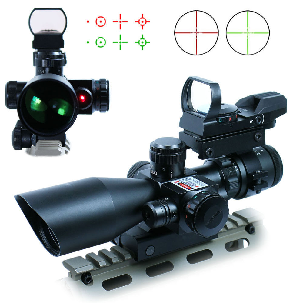 3in1 Compact Riflescope 2.5-10X40 Red Dot Illuminated Rifle Scope + Laser + Holographic Reflex 4 Reticle Tactical Red Dot Scopes
