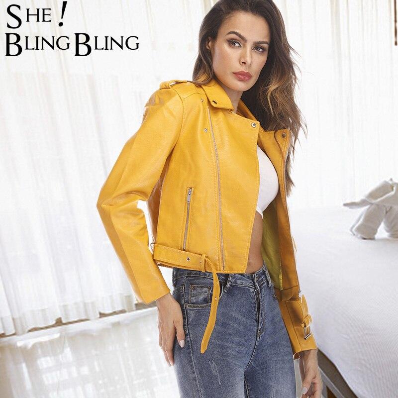 SheBlingBling Women Coat Autumn Street Short Washed PU   Leather   Jacket Bright Colors Female Basic Jackets Slim Long Sleeve Coats