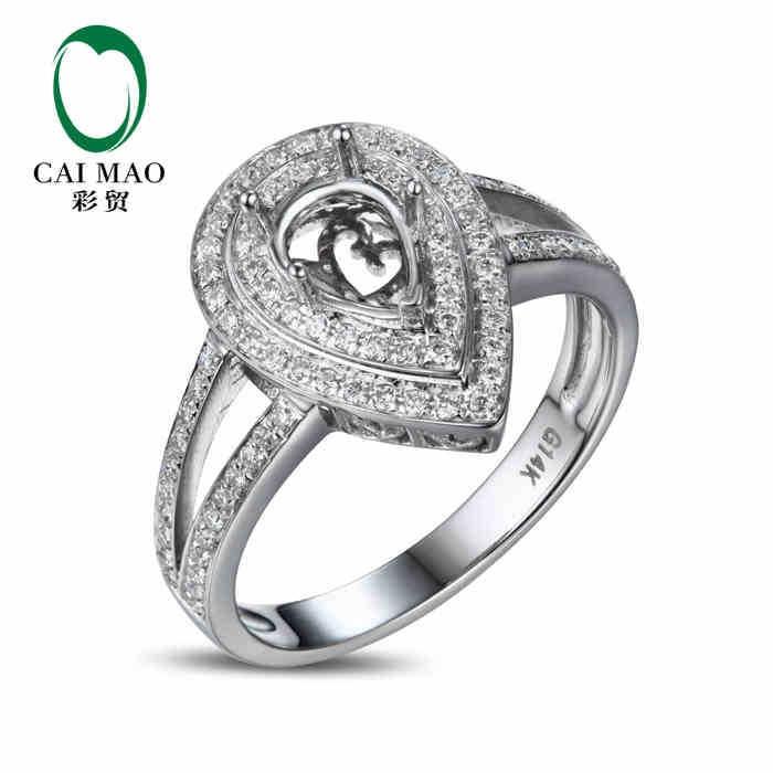 CaiMao Pear cut Semi Mount Ring Settings & 0.38ct Diamond 14k White Gold Gemstone Engagement Ring Fine JewelryCaiMao Pear cut Semi Mount Ring Settings & 0.38ct Diamond 14k White Gold Gemstone Engagement Ring Fine Jewelry