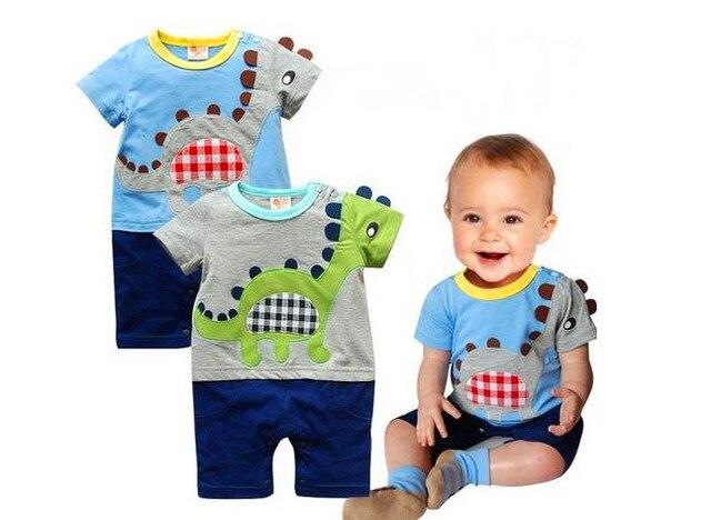 2017 summer baby boys clothes cartoon embroidery dinosaur baby rompers infant jumpsuit newborn clothing roupas infantis menino