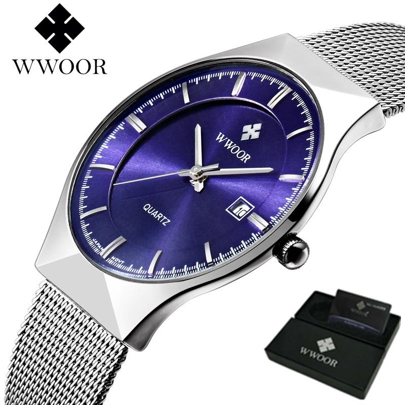 5edc21692b32 Reloj de los hombres de Lujo Marca WWOOR Relojes Deportivos Reloj de Cuarzo  de Acero Inoxidable