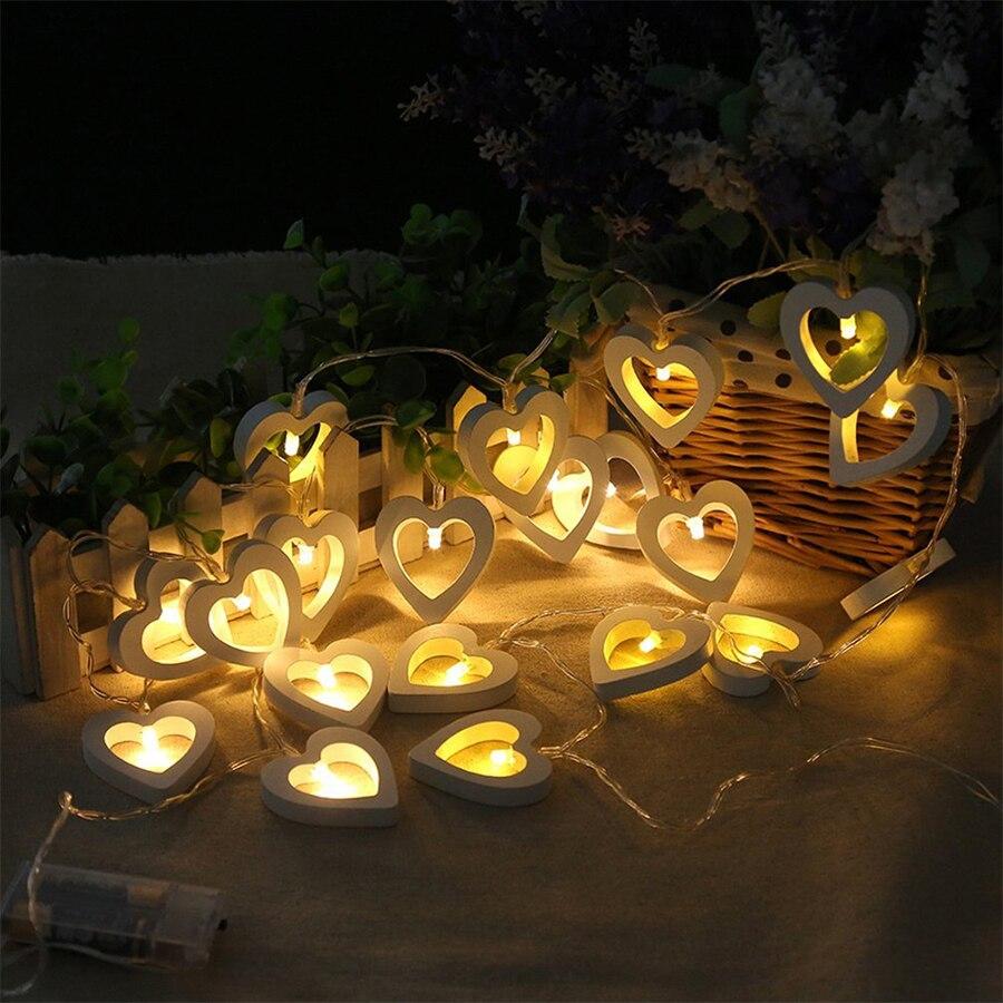 1M 10leds 2M 20leds Romantic Wood Heart LED String Light Valentine's Day Lamp Festival Party Wedding Decoration Fairy Lights