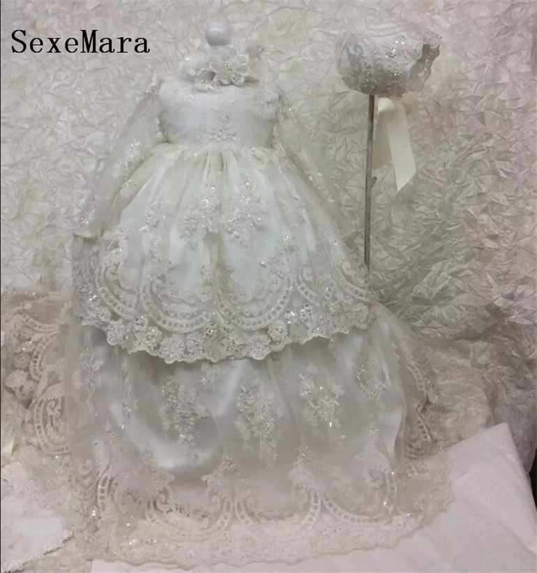 Sequined Tulle Lace Appliqued Kids Birthday Gown Long Christening Dresses For Baby Girl With Long Sleeves Baptism Gown BonnetSequined Tulle Lace Appliqued Kids Birthday Gown Long Christening Dresses For Baby Girl With Long Sleeves Baptism Gown Bonnet