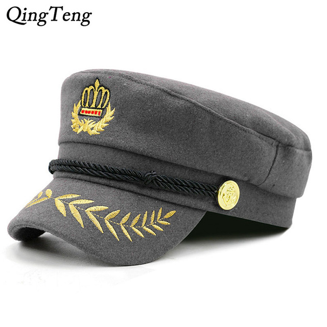 Fashion Embroidered Crown Women Rope Flat Cap Elegant Solid Beret Hat  Female 2018 New Casual Visor Military Hat 7dcf2a823a3d