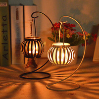 Moroccan Style Pumpkin Candle Holder Metal Craft Iron Candlestick Candle Lantern Home Garden Wedding Decoration Craft