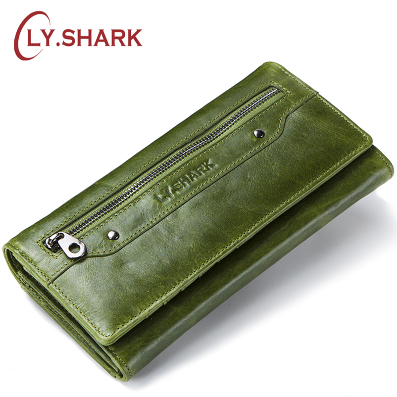LY.SHARK Genuine Leather Wallet Women Coin Purse Clutch Ladies Credit Card Holder Phone Money Bag Women Wallet Long Green Walet tinyffa brand woman wallet female purse women credit card holder for phone coin purse clutch organizer leather ladies walet long