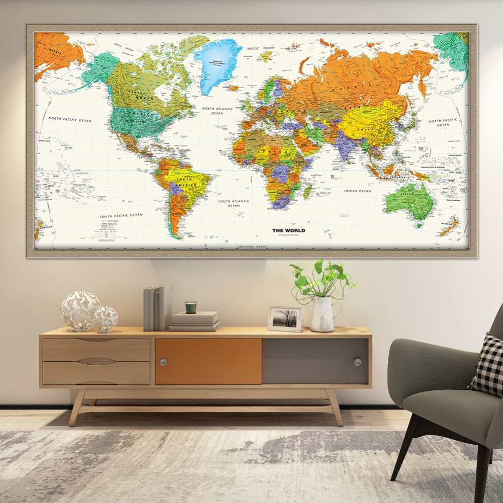 US $7.89  Hot Sale Classic Large World Map Canvas Painting Vintage Wall Art  Poster Picture For Office Living Room Home Decoration No Frame-in Painting  ...