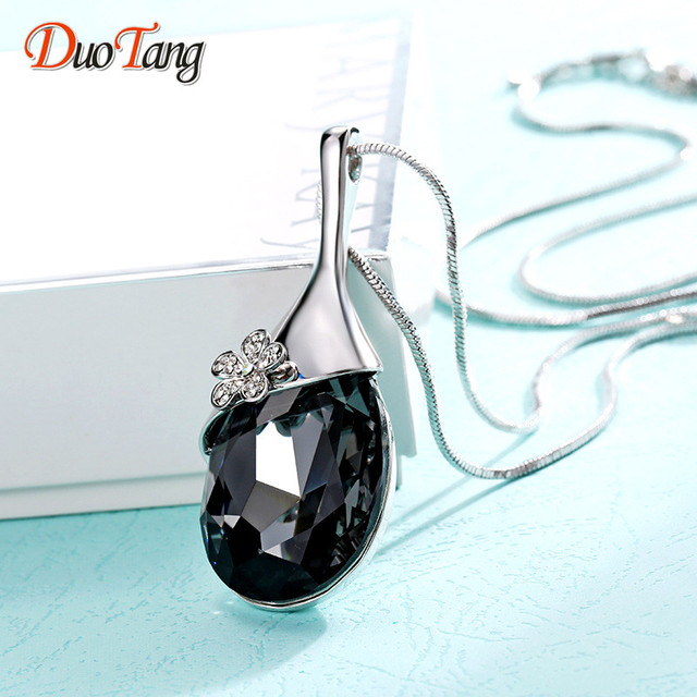 DuoTang Trendy New Fashion Silver Plated Water Drop Big Gray Crystal Stone Pendant  Necklace Fine Jewelry 9a7c219e5e27