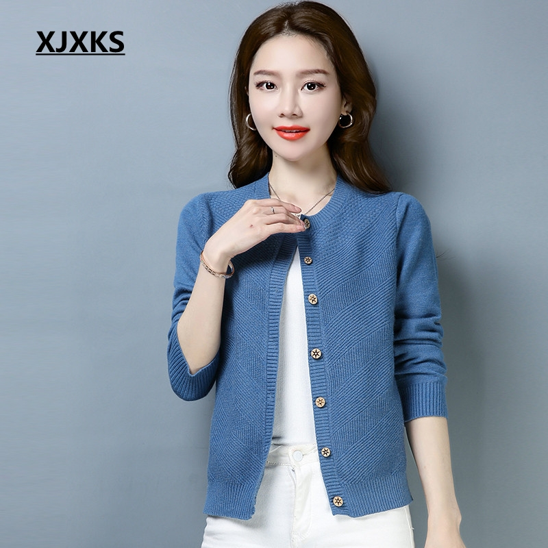 XJXKS 2019 new arrival spring and autumn clothes women cardigan sweater single breasted m xxl stretch