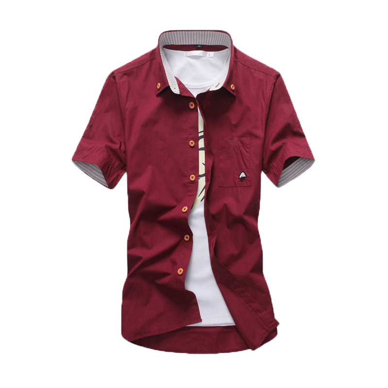 Asian Small Size Men's Short Sleeve Shirt Young Men Summer Fashion Casual Shirts Small Mushroom Embroidery Solid Shirt