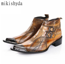 Mikishyda Brown Genuine Leather Men Shoes Autumn Snow Ankle Boot Slipper Metal Pointed Toe Flats Military Cowboy Boots