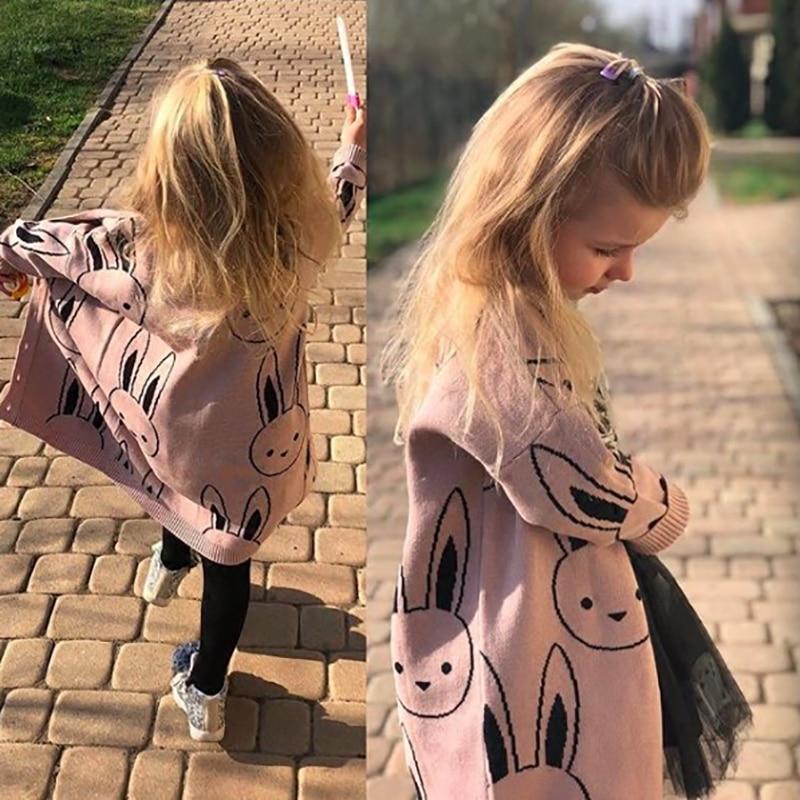 Baby Girls Sweaters Toddler Boys Cardigans Coat Cartoon Rabbit Children Cotton Knitwear Autumn Winter Kids Girl Pullover Sweater