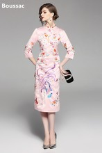 Free shipping Spring original Chinese style flower birds Embroidered big size Improved Cheongsam slim dress for women free shipping national trend cheongsam chinese style stand collar embroidered flower dress winter long women dresses