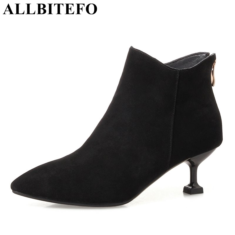 ALLBITEFO large size:33-42 Nubuck leather pointed toe high heels women boots sexy thin heel party shoes ankle boots girls boots large size 33 42 sexy ankle boots platform thin high heels women boots plush inside keep warm black white apricot brown shoes