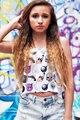 Женщины топ новая коллекция весна летние танки и майки о-образным вырезом облегающие жилет майка женщины Белый Растениеводство Топ с Emoji LC25562