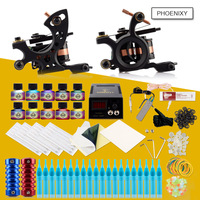 Complete Tattoo Machine Set 2 Guns 10 Inks Power Box Supply Needles Grip Accessories Permanent Makeup Professional Tattoo Kit