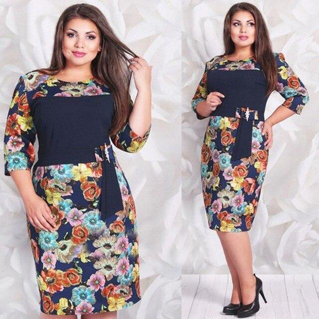Big size 6XL 2016 Fat MM Woman Summer Dress Elegant Loose floral dresses  plus size women clothing 6xl self portrait dress c339db078a41