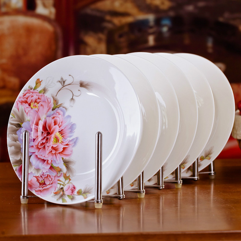 6pcs/set Chinese Dining Room Ceramic Tableware Jingdezhen Bone China Porcelain Dinnerware 8*inch Deep Soup Dishes Sushi Plates image
