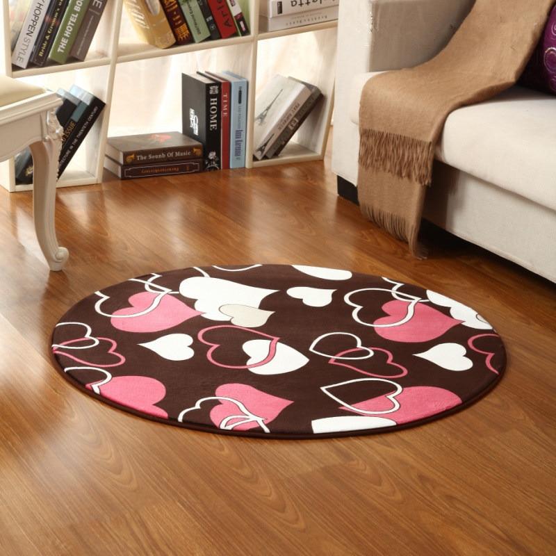 Round Heart Printing Large Bathroom Rugs Carpet, 1 PCS ...
