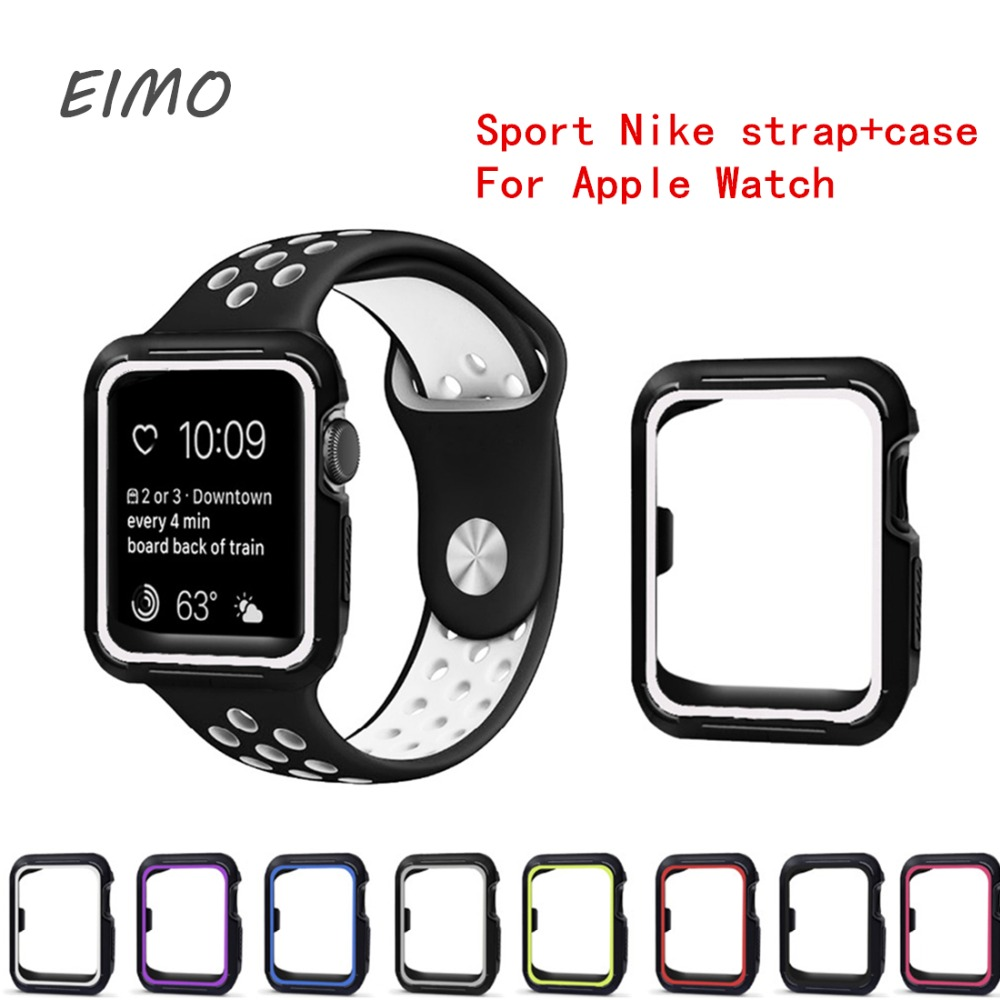 Sport Nike strap+case For Apple Watch band 38/42 mm bracelet silicone watchband+Protective Case for iwatch 3/2/1 wrist belt jansin 22mm watchband for garmin fenix 5 easy fit silicone replacement band sports silicone wristband for forerunner 935 gps