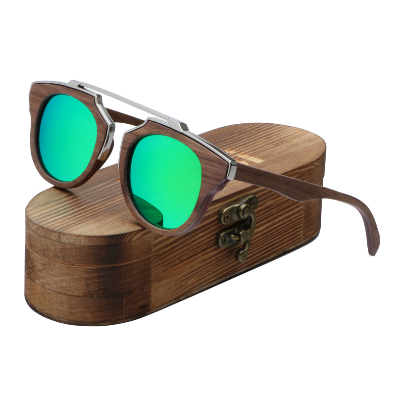 2017 Men's Skateboard Wood steampunk Sunglasses Vintage Luxury Brand Designer Polarized Sun Glasses oculos de sol feminina