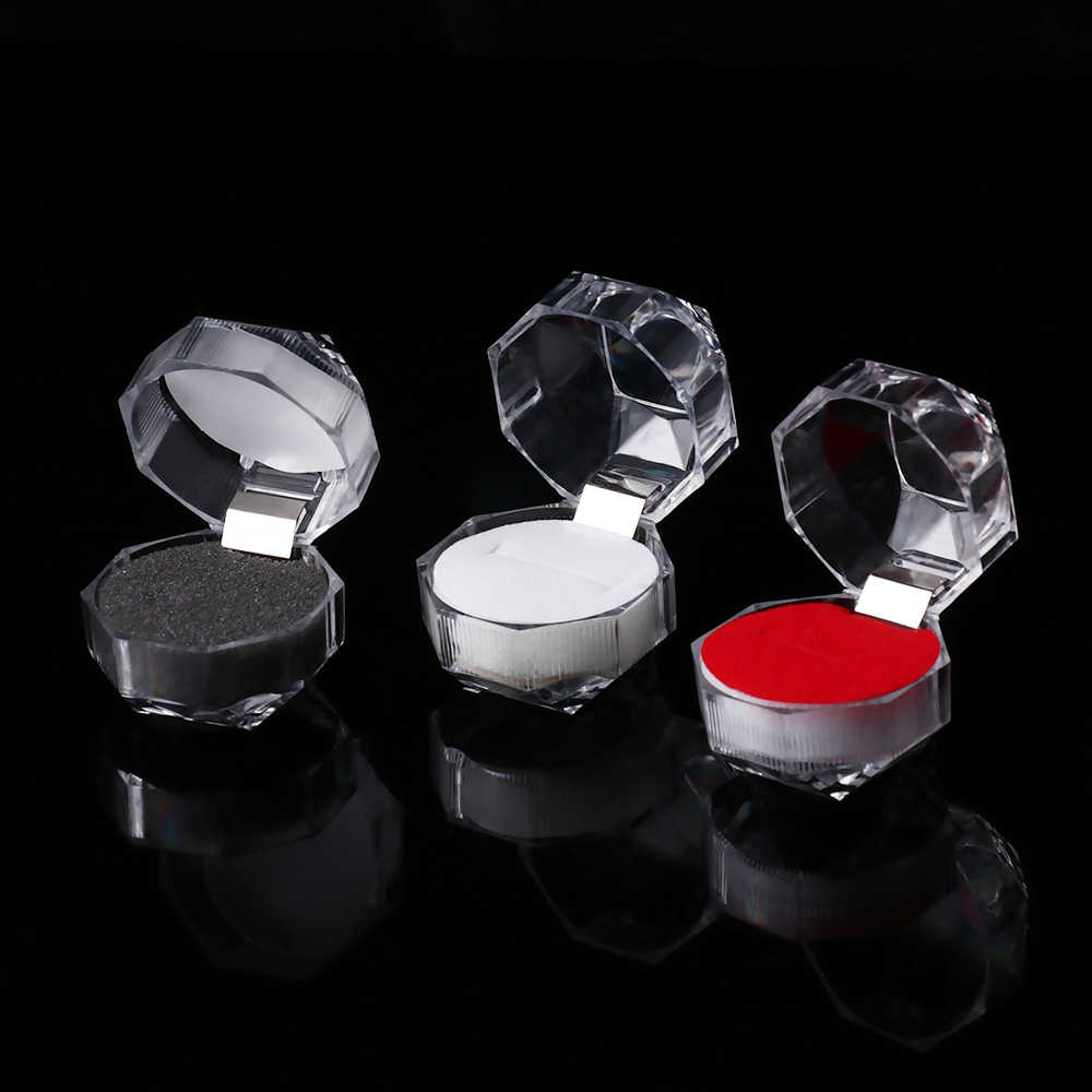 1PC 4*4cm קריסטל אקריליק נייד שקוף טבעות עגיל חתונה תיבת תצוגת תכשיטי תיבת חבילה טבעת ארגונית אחסון תיבה