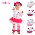 1 st meninas bodysuit do bebê roupas de menina vestidos de batismo rosa manga comprida dress roupas do corpo do bebê tutu roupas 4 pçs/set