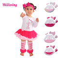 1 st niñas mono del bebé ropa de niña vestidos de bautizo rosa ropa tutu dress baby body de manga larga ropa 4 unids/set