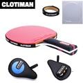 Raqueta de tenis de mesa de madera más fibra de carbono, mango largo, mango corto, hoja de raqueta de ping pong horizontal con goma