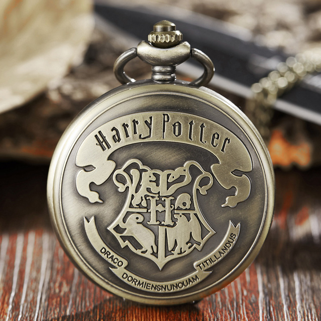 Harry Potter Theme Pocket Watch Bronze Hogwarts Magic School scuola Pocket Watch