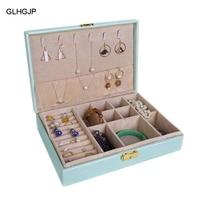 GLHGJP Fashion PU Leather Watch Jewelry Box Casket for Decoration Jewelry Display Large Capacity Travel Makeup Box Organizer