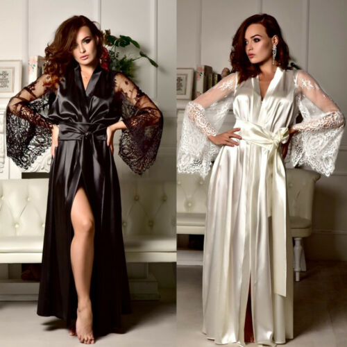 2019 Sexy Lingerie Women Silk Lace Long Robe Dress Pajamas Nightdress Nightgown Sleepwear