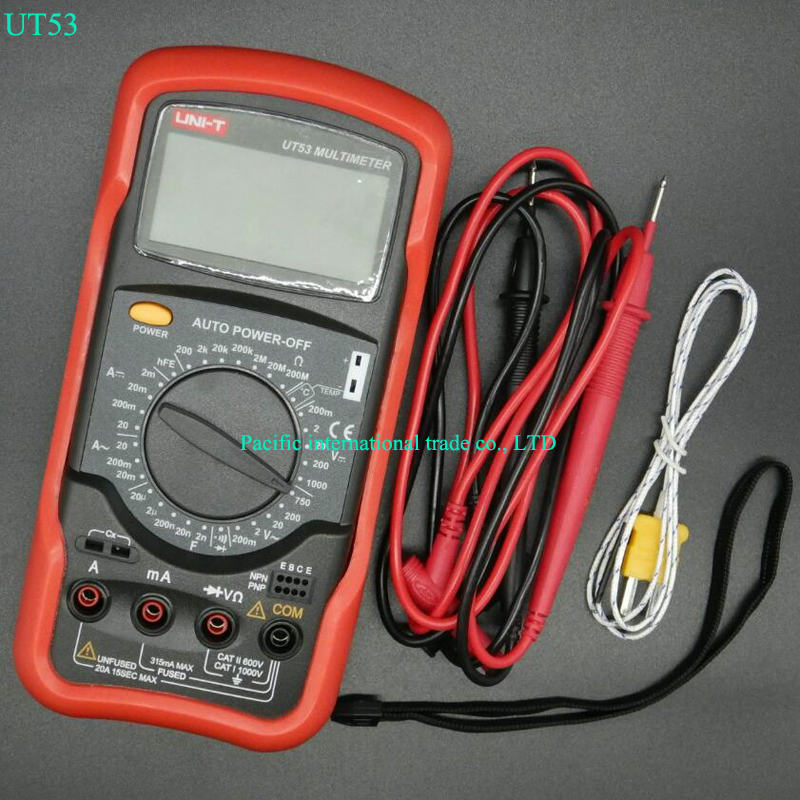 UNI-T UT53 digital multimeter resistance measurement diode/transistor test digital display AC/DC multimeter Ammeter uni t ut70b lcd digital multimeter auto range frequency conductance logic test transistor temperature analog display