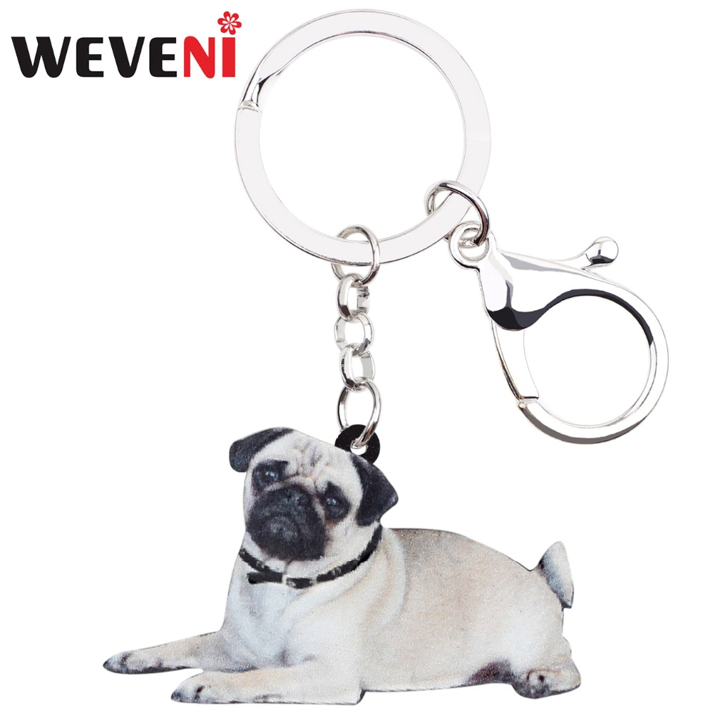 WEVENI Original Acrylic French Bulldog Pug Dog Key Chain Keychain Ring Cute Animal Jewelry For Women Girls Bag Car Cheap Charms