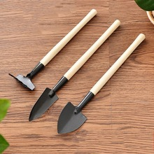 3pcs/Set Mini Gardening Tools Wood Handle Stainless Steel Potted Plants Shovel Rake Spade for Flowers Plant
