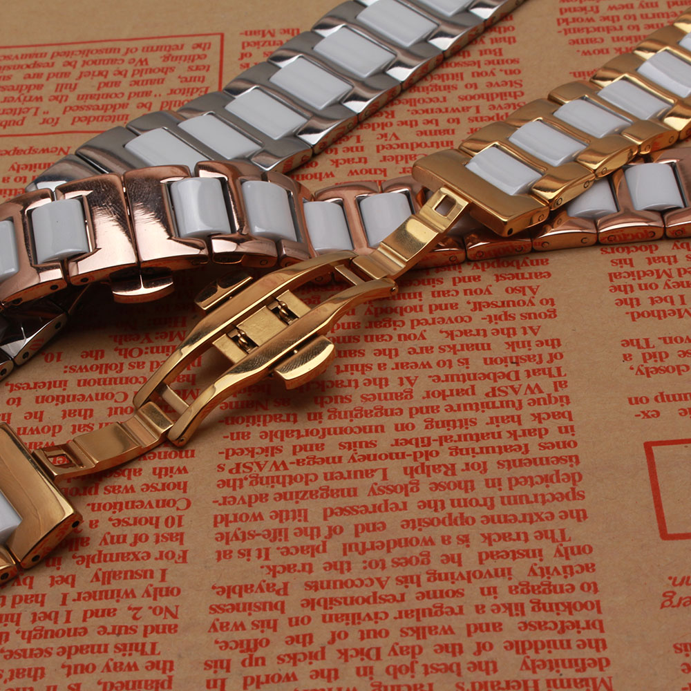 14MM 16mm 18mm 20mm 22MM Ceramic and Stainless Steel Watchband Rose gold SILVER white watch band strap Butterfly Buckle CLASP 20mm 22mm ceramic