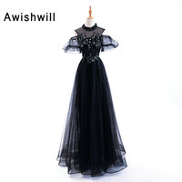 New Arrival Red / Black Long Prom Dresses Lace Tulle High Neck Puffy Short Sleeve Evening Party Gown Pageant Dress Floor Length