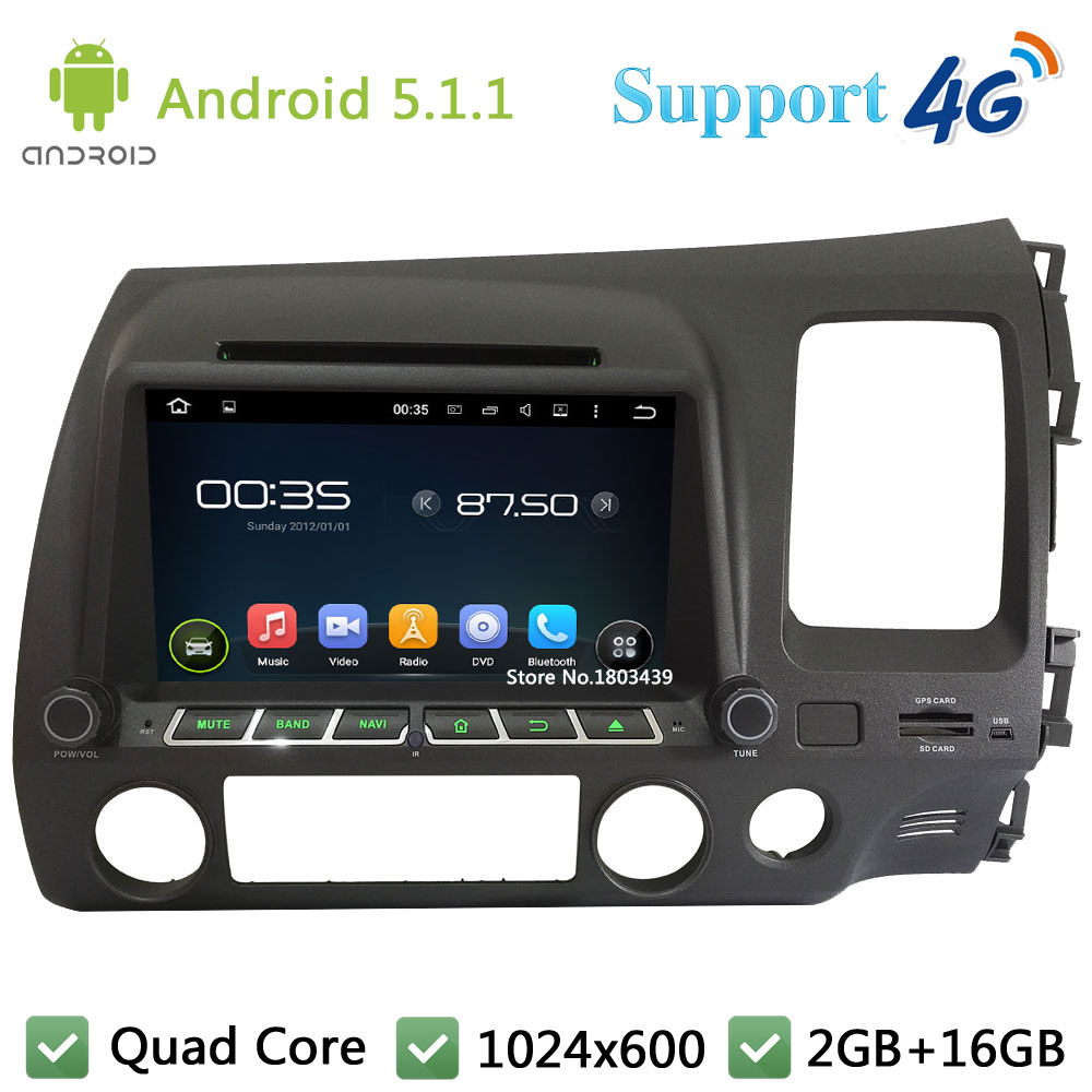 Quad Core 8″ HD 1024*600 Android 5.1.1 Car DVD Player Radio DAB+ 3G/4G WIFI GPS Map For Honda CIVIC Right Hand Driving 2006-2011