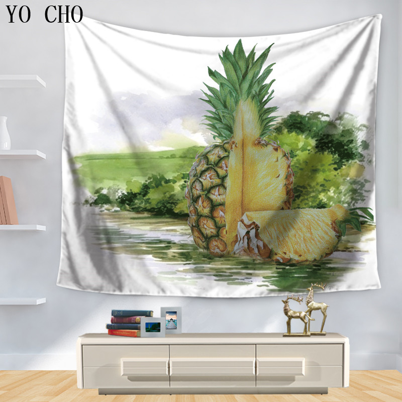 Yo Cho Fresh Tropical Fruit Pineapple Tapestry Picnic Cloth Modern Tapestry Arazzo Indian Bath Towel Yoga Mat Dorm Cover Tapete To Win Warm Praise From Customers Tapestry