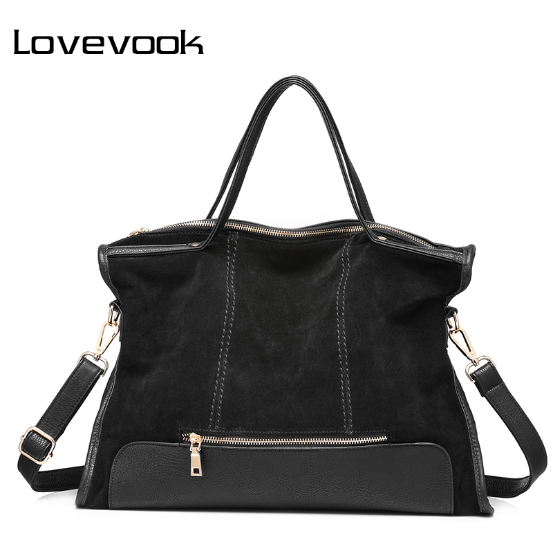 LOVEVOOK brand fashion female shoulder bag high quality patchwork split leather retro handbag ladies tote bag for office work luxury brand women split leather handbag high quality pu leather shoulder bag large capacity totes cattle split hand bag for mom