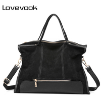 LOVEVOOK Brand Fashion Female Shoulder Bag High Quality Split Leather Cosmeti Totes Retro Large Capacity Handbag