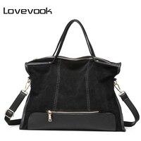 Lovevook ماركة أزياء أنثى حقيبة الكتف عالية الجودة المرقعة سبليت جلدية الرجعية حقيبة السيدات حمل حقيبة ل مكتب العمل