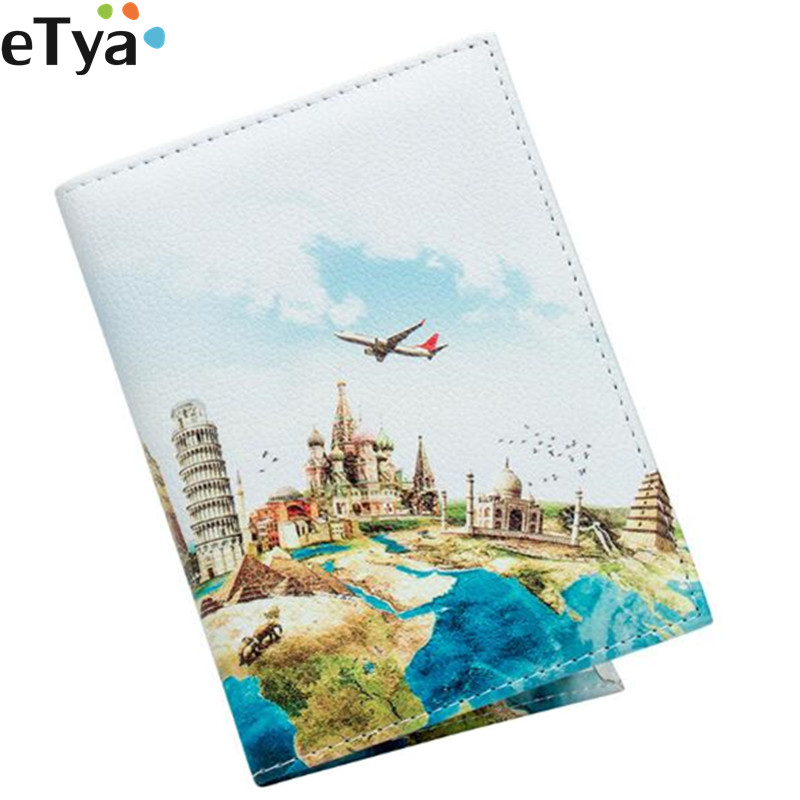 ETya Women Men Fashion Travel Passport Holder Protector Leather Business Passport Cover Wallets Purses Bags Travel Accessories