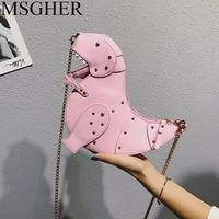 MSGHER Rivet Personality Dinosaur Design Fashion Leather Crossbody Mini Messenger Bag Women Chain Purse Female Shoulder Bag Gift