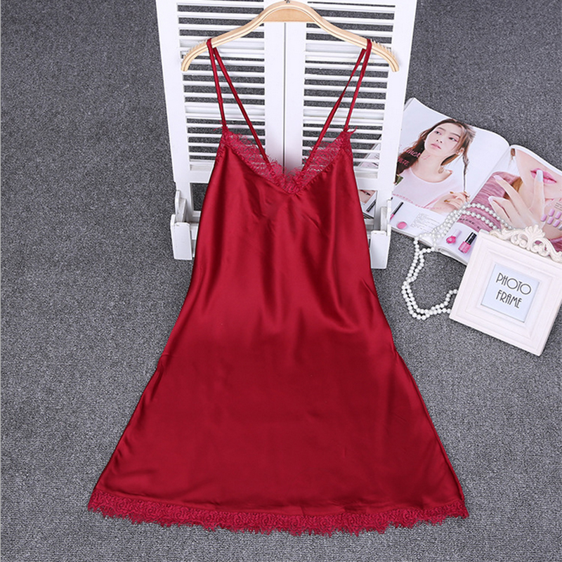 Ladies Sexy Silk Satin   Nightgown   Sleeveless Nightdress V-neck   Sleepshirt   Lace Night Gown Summer Sleeping Dress For Women