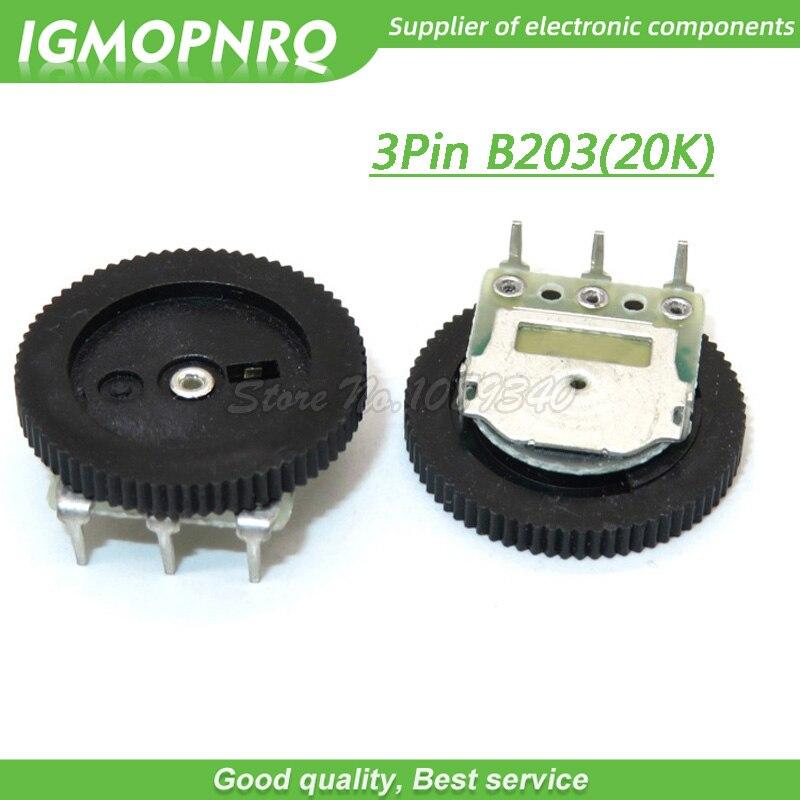 5 шт., 3-контактный потенциометр B203 20K, 16 х2 мм